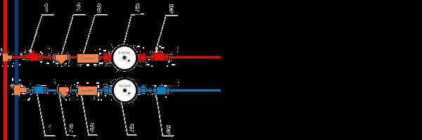 Схема установки водомера